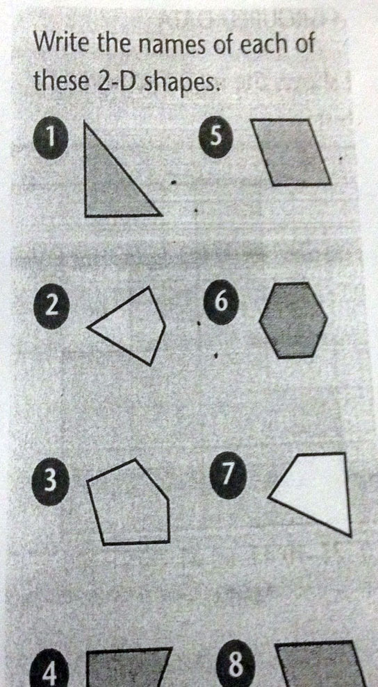 What shape is number : 3, 4, and 7